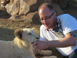 Playing with GG at The Rhino & Lion Park.  She was so sweet, I really hope she is alive and OK.